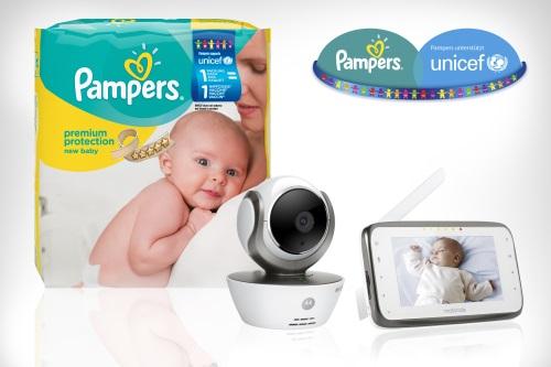 Mit Pampers für UNICEF  Windelvorrat und ein Motorola MBP 854 HD CONNECT SMART Babyphone gewinnen